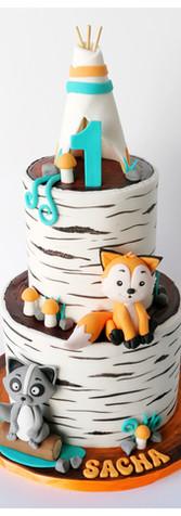 Cake design gâteau tipi renard indien