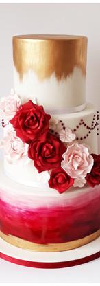 Wedding cake automnal Blanc bordeaux et or