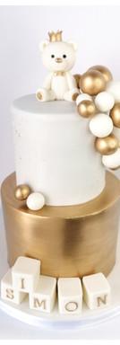 Cake design ourson ballons blanc et or baptême