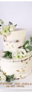 Nude cake blanc or vert baptême