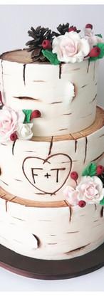Wedding cake effet bois bouleau Rustique pomme de pin