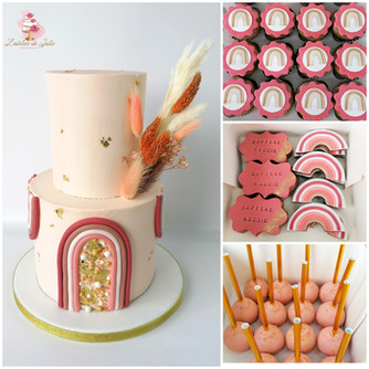 Rainbow Boho cake design nude terracotta arc-en-ciel