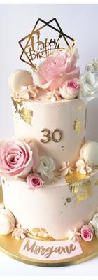 Layer cake fleuris rose nude or 30 ans
