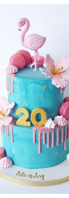 cake design tropical flamant rose et ananas