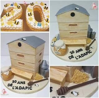 20 ans de L'ADAPIC cake design et number cake apiculture ruche miel abeilles