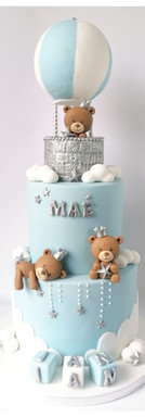 Cake design oursons Montgolfière bleu blanc argent
