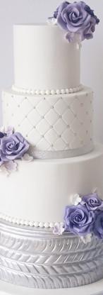 wedding cake motards blanc, argent et violet