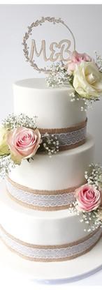 wedding cake Rustique chic, toile de jut