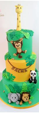 Cake design petits animaux de la jungle baptême
