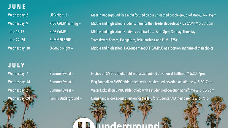 Middle and High School Students Summer Fun