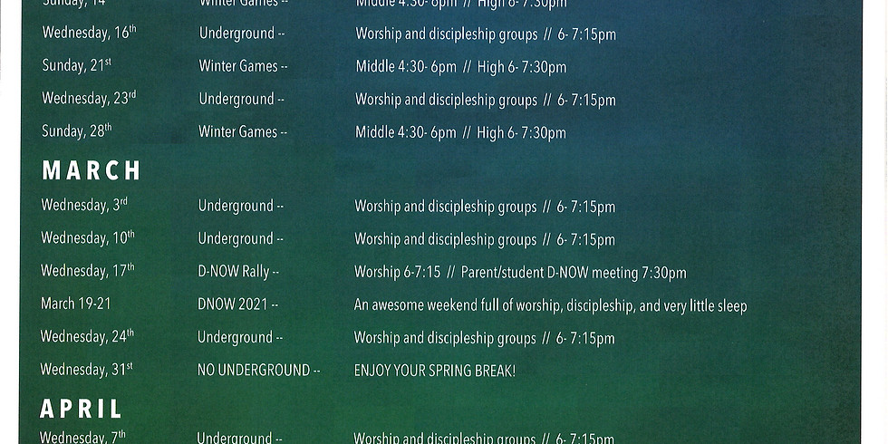 Underground Student Ministry 2021 Calendar