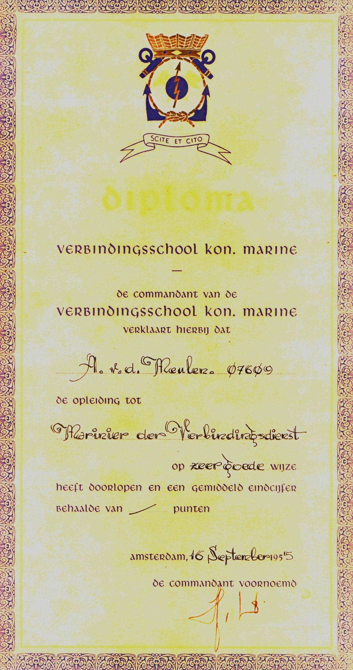 17 TOKM Diploma Verbindingsdienst