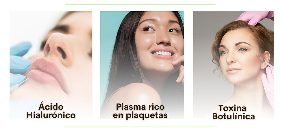 acido hialuronico, relleno, plasma , plasma rico en plaquetas, toxina botulinica, botox