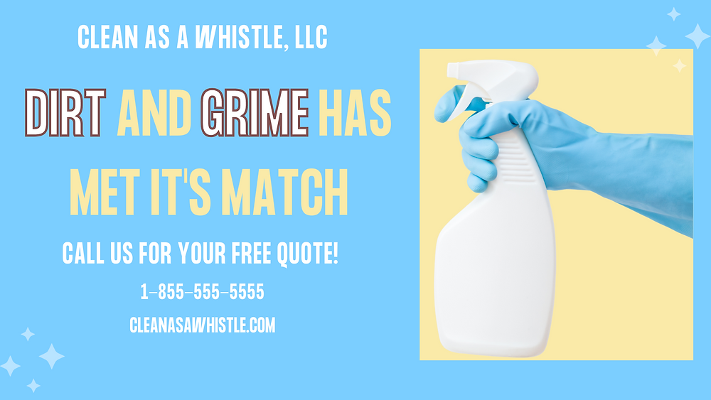 Final version of graphic with promotional text and blue glove with white spray bottle.