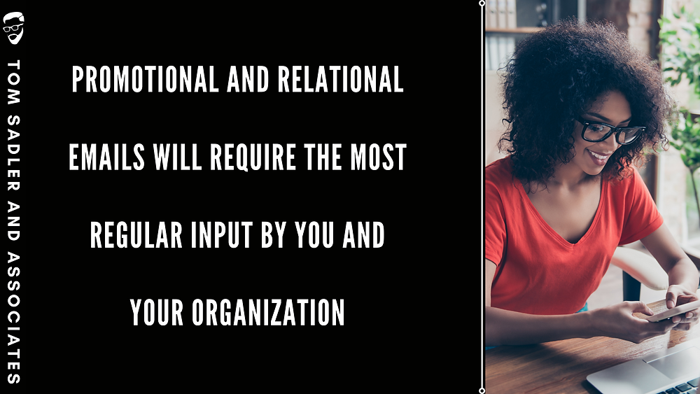 """Woman wearing red shirt looking down at her phone with words to the left of her that says """"Promotional and relational emails will require the most regular input by you and your organization."""""""