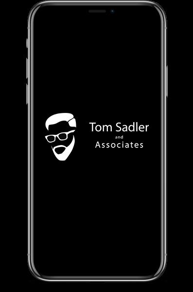 Iphone with tom sadler an associates logo on the screen