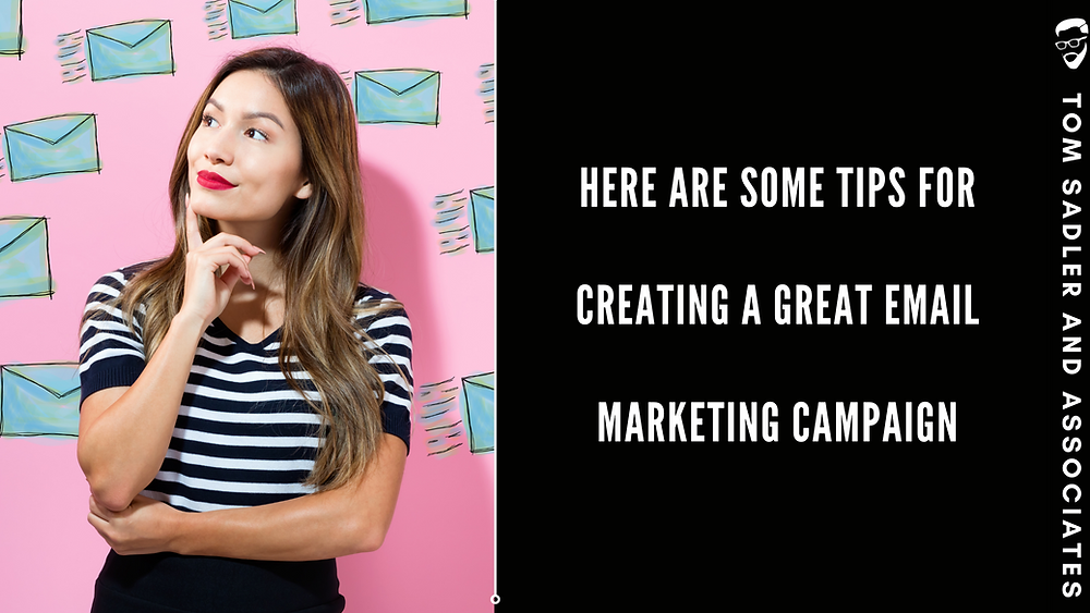 """Woman Thinking in black and white with pink background with words next to her that say """"Here are some tips for creating a great email marketing campaign."""""""