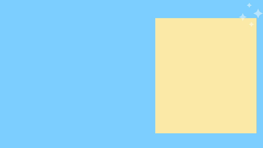 Blue background with yellow box to right of graphic with white sparkle clip art at the edge.