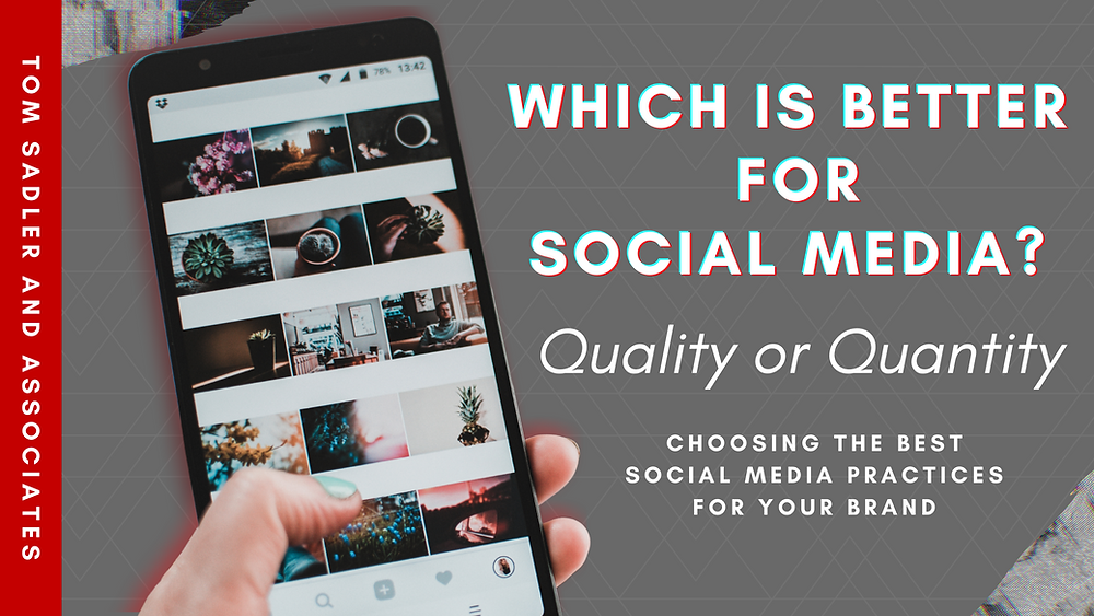 """Which is better for Social Media Quality or Quantity?"" White text, grey background"