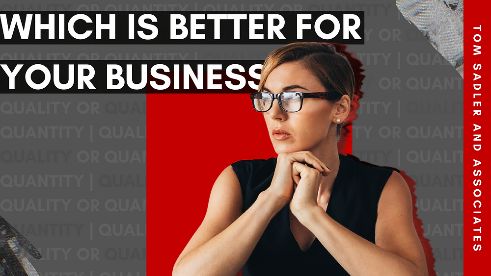 """Which is better for your business"" in white text over black and grey background. Woman looking to the left."