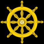 O Dharmachakra representando o Nobre Caminho Óctuplo.