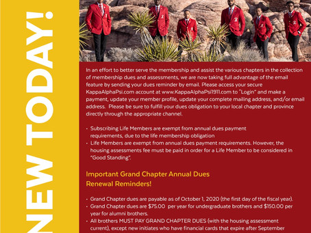 Grand Chapter Annual Dues Renewal Notification