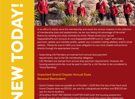 2020-2021 Grand Chapter Dues Renewal Notification