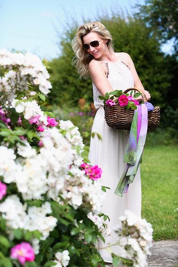 Pink and Blue Echium Standard Silk Scarf