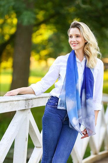 Big Skies Blue Standard Silk Scarf
