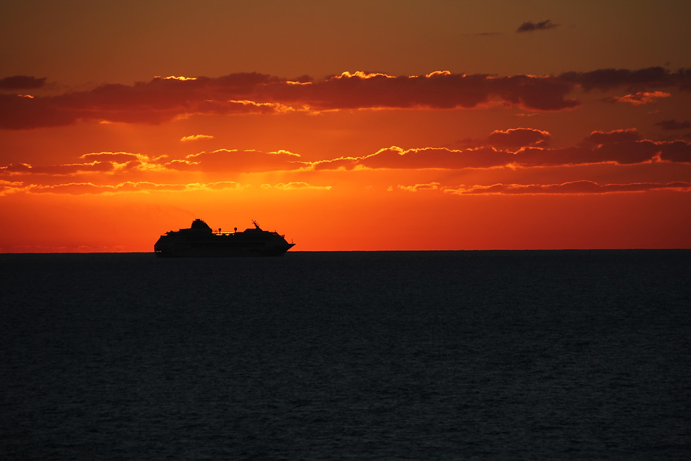 Ship's silhouette during sunset