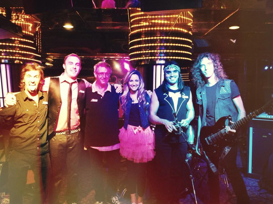 The band on the Carnival Fascination in 2014, six musicians, four nationalities. All got together to make music.