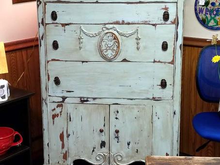 Distressed Serenity Blue Antique Dresser