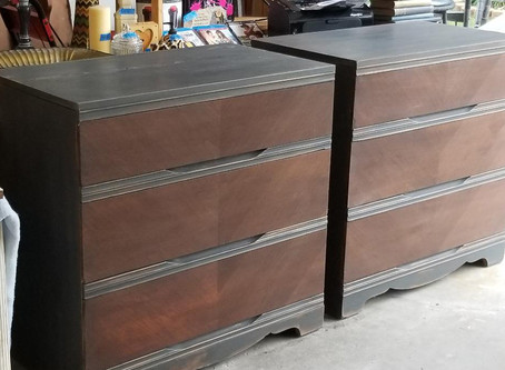 Distressed Charcoal Dresser with Stained Wood Drawers