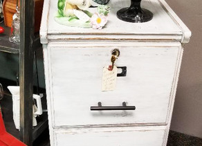 Distressed Linen White Filing Cabinet with Lock