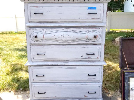 Distressed Icy Gray Dresser with Stained Wood Top
