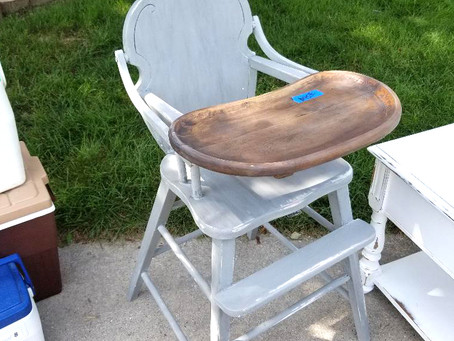 Distressed Aged Gray High Chair with Stained Wood Tray