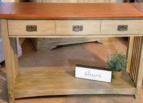 Distressed Taupe Sofa Table/Entry Table