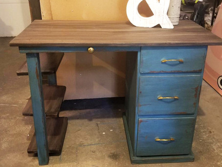 Distressed Tidal Pond Desk with Wood Top