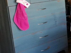 Distressed Lake Blue Dresser with Stained Wood Top