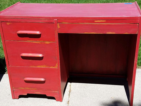 Distressed Farmhouse Red Desk