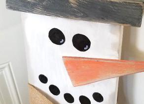 Handmade Wood Distressed Snowman