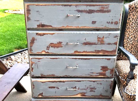 Distressed Aged Gray Dresser with Charcoal Top