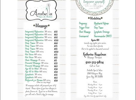 Arabella Spa & Salon Massage Rack Card Design