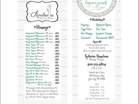 Arabella Spa & Salon Massage Rack Card Design