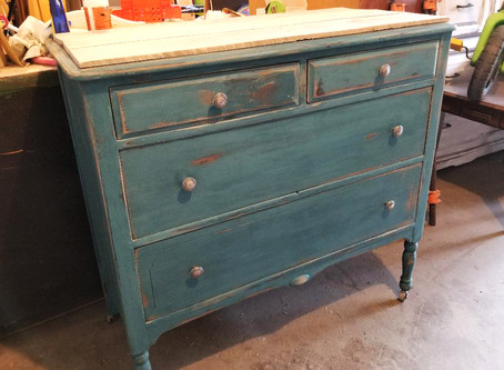 Distressed Tidal Pond Dresser with Pallet Wood Top on Wheels