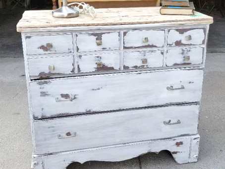 Distressed Linen White Dresser with Pallet Wood Top