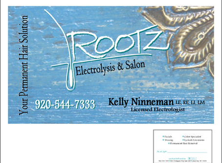 Rootz Electrolysis & Salon Business Card Design