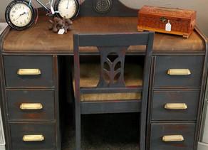 Distressed Charcoal Antique Desk