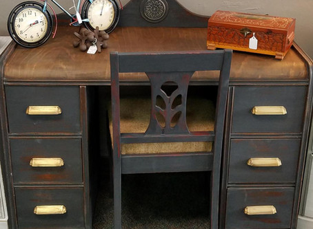 Distressed Charcoal Antique Desk