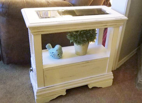 Distressed Linen White End Table/Side Table